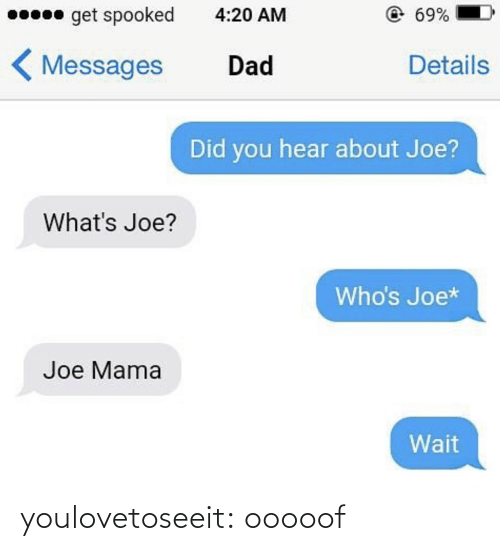 Dad, Target, and Tumblr: 0 get spooked  @69%  4:20 AM  < Messages  Details  Dad  Did you hear about Joe?  What's Joe?  Who's Joe*  Joe Mama  Wait youlovetoseeit:  ooooof