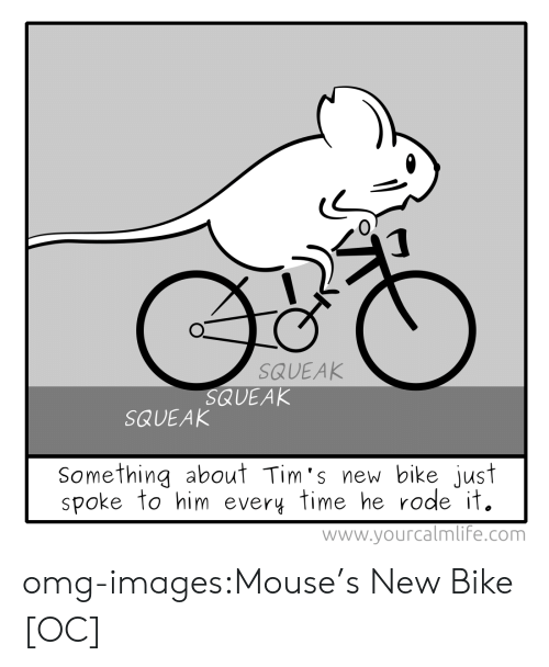 Tims: 0  SQUEAK  QUEAK  SQUEAK  Something about Tim's new bike just  spoke to him every time he rode it.  www.yourcalmlif'e.com omg-images:Mouse's New Bike [OC]