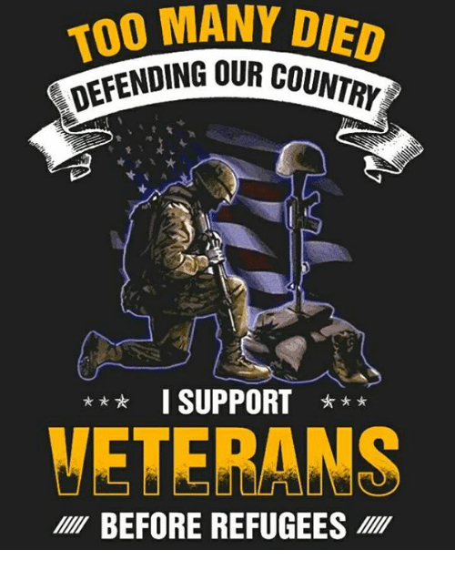 Memes, 🤖, and Coi: 00 MANY DIED  DING OUR COI  NTRY  I SUPPORT *  VETERANS  BEFORE REFUGEES
