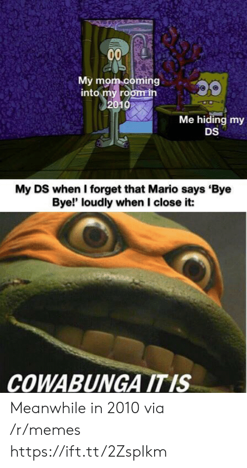bye bye: 00  My mom coming  into my room in  2010  Me hiding my  DS  My DS when I forget that Mario says Bye  Bye!' loudly when I close it:  COWABUNGA ITIS Meanwhile in 2010 via /r/memes https://ift.tt/2ZspIkm