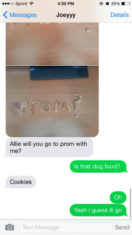Cookies, Food, and Yeah: 00 ;print  4:59 PM  39%  Messages Joeyyy  Details  Allie will you go to prom with  me?  Is that dog food?  Cookies  Oh  Yeah i guess ill go  Text Message  Send