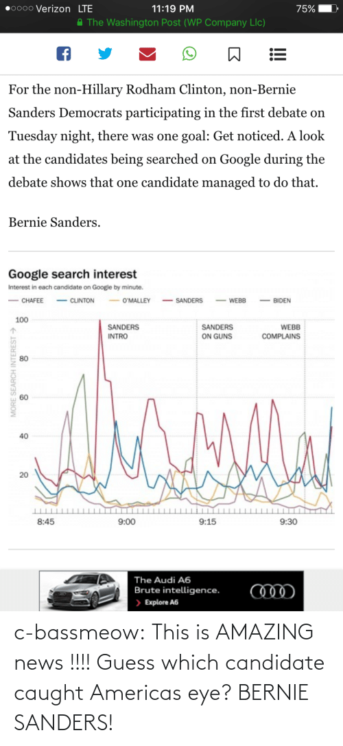Participating: 0000 Verizon LTE  11:19 PM  75%  A The Washington Post (WP Company Llc)  For the non-Hillary Rodham Clinton, non-Bernie  Sanders Democrats participating in the first debate on  Tuesday night, there was one goal: Get noticed. A look  at the candidates being searched on Google during the  debate shows that one candidate managed to do that.  Bernie Sanders.  Google search interest  Interest in each candidate on Google by minute.  - CLINTON  - SANDERS  O'MALLEY  CHAFEE  BIDEN  WEBB  100  SANDERS  SANDERS  WEBB  ON GUNS  INTRO  COMPLAINS  80  40  20  8:45  9:00  9:15  9:30  The Audi A6  Brute intelligence.  > Explore A6  MORE SEARCH INTEREST > c-bassmeow:  This is AMAZING news !!!! Guess which candidate caught Americas eye? BERNIE SANDERS!