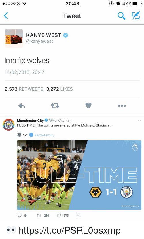 Manchester City:  #00003  20:48  O 47%  Tweet  KANYE WEST  @kanyewest  0  Ima fix wolves  14/02/2016, 20:47  2,573 RETWEETS 3,272 LIKES   Manchester City@ManCity 3m  FULL-TIME | The points are shared at the Molineux Stadium...  CHES  igi 1-1 . #wolvesvcity  TIME  1-1 (  CHES  CITY  #wolvesvcity  94 230 375 👀 https://t.co/PSRL0osxmp