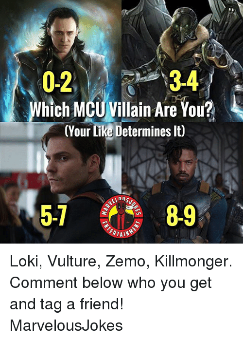 Vulture: 0234  3-4  Which MCUVillain Are You?  (Your Like Determines lt)  5-1  8-9  RTAIN Loki, Vulture, Zemo, Killmonger. Comment below who you get and tag a friend! MarvelousJokes