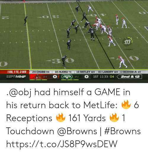 obj: 03  3.  1 RB, 1 TE, 3 WR  24 CHUBB RB  18 RATLEY WR  85 NJOKU TE  80 LANDRY WR 13 BECKHAM JR. WR  ESFRMNF  1ST 11:33 04  2nd & 12  JETS  0-1  0-1 .@obj had himself a GAME in his return back to MetLife: 🔥 6 Receptions 🔥 161 Yards 🔥 1 Touchdown  @Browns | #Browns https://t.co/JS8P9wsDEW