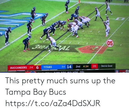 4 6: 05  3RD& GAL  3rd &Goal  3-4 14  05  2nd  4:34  TITANS  BUCCANEERS 2-4 6  NFL  7 00 DTS (62 vns Tn This pretty much sums up the Tampa Bay Bucs https://t.co/aZa4DdSXJR