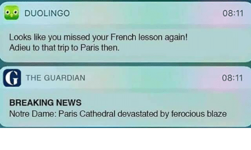 Guardian: 08:11  DUOLINGO  Looks like you missed your French lesson again!  Adieu to that trip to Paris then  G THE GUARDIAN  08:11  BREAKING NEWS  Notre Dame: Paris Cathedral devastated by ferocious blaze