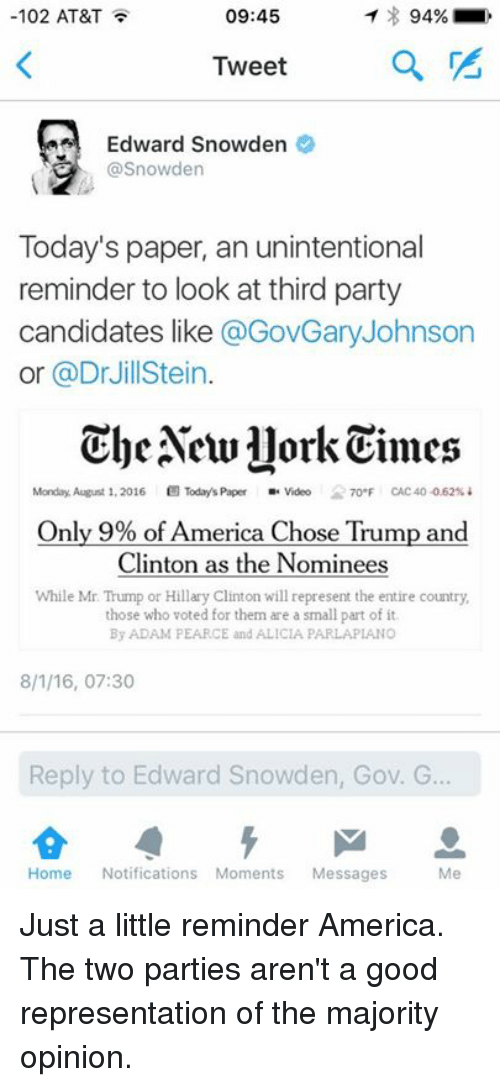 third-party-candidates: 09:45  102 AT&T  94%  Tweet  Edward Snowden  @Snowden  Today's paper, an unintentional  reminder to look at third party  candidates like  @GovGary Johnson  or @Dr Jill Stein  The Aewllork Times  Monday, August 1, 2016  B Today's Paper  Video 7o F CAC 40 0.62%  Only 9% of America Chose Trump and  Clinton as the Nominees  While Mr Trump or Hillary Clinton will represent the entire country,  those who voted for them are a small part of it  By ADAM PEARCE and ALICIA PARLAPIANO  8/1/16, 07:30  Reply to Edward Snowden, Gov. G  Home  Notifications Moments  Messages  Me Just a little reminder America. The two parties aren't a good representation of the majority opinion.