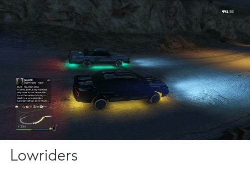 Wannabe, Death, and Race: 0E THh  pauulo018  Stunt Race NEW  Stunt Mountain Drop  At some point, every wannabe  rally driver in Los Santos has  found themselves burning to  death in a very expensive  supercar halfway down Mount...  t 2.11mi Lowriders
