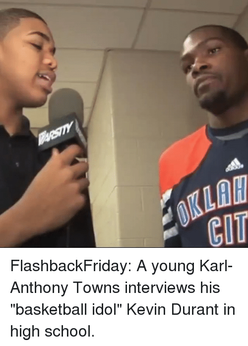 """Karl-Anthony Towns: 0KLAW  CIT FlashbackFriday: A young Karl-Anthony Towns interviews his """"basketball idol"""" Kevin Durant in high school."""