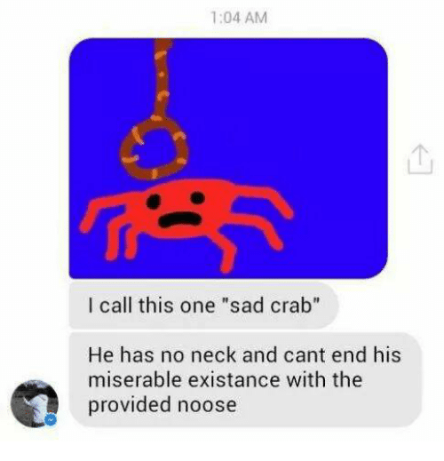 """No Neck: 1:04 AM  I call this one """"sad crab""""  He has no neck and cant end his  miserable existance with the  provided noose"""