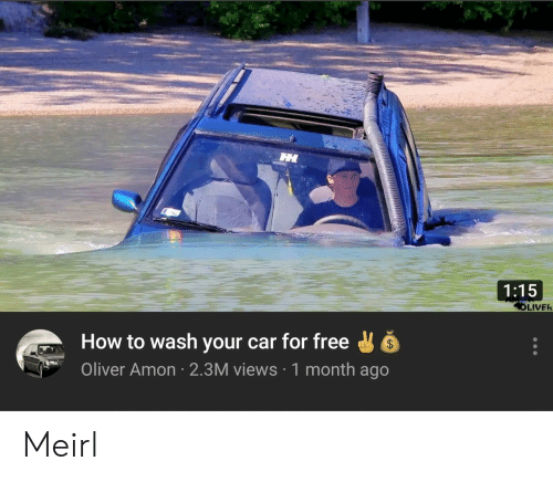 Oliver: 1:15  LIVER  How to wash your car for free  Oliver Amon 2.3M views 1 month ago Meirl