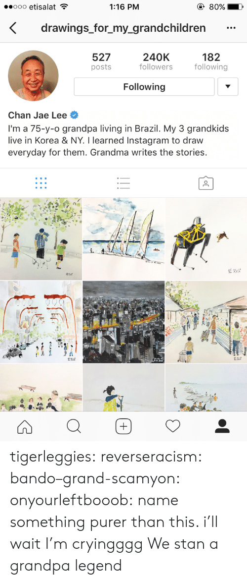 chan: 1:16 PM  drawings_for_my_grandchildren  527  posts  240K  followers  182  following  Following  Chan Jae Lee  I'm a 75-y-o grandpa living in Brazil. My 3 grandkids  live in Korea & NY. I learned Instagram to draw  everyday for them. Grandma writes the stories. tigerleggies:  reverseracism:   bando–grand-scamyon:  onyourleftbooob: name something purer than this. i'll wait I'm cryingggg     We stan a grandpa legend