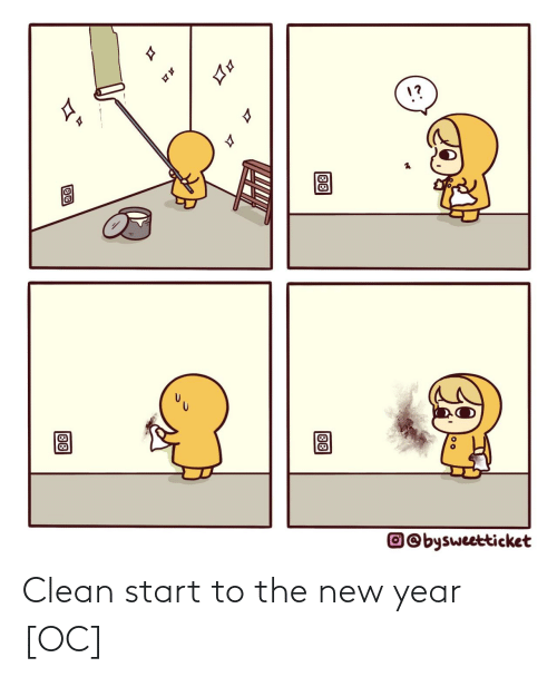 New Year's: 1?  17  O©bysweetticket  88  88 Clean start to the new year [OC]