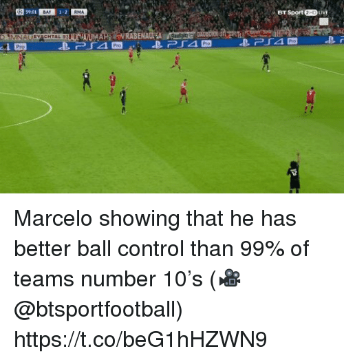 Soccer, Control, and Live: 1-2  BT Sport 2HD LIVE Marcelo showing that he has better ball control than 99% of teams number 10's  (🎥 @btsportfootball) https://t.co/beG1hHZWN9