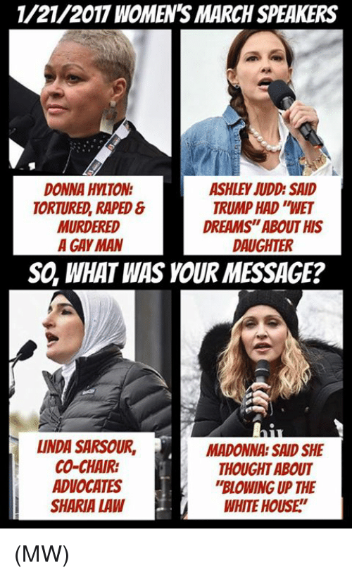 "torturous: 1/21/2017 WOMENS MARCH SPEAKERS  DONNA HYLTON  ASHLEY JUDD SAID  TRUMP HAD WET  TORTURED, RAPED  DREAMS""ABOUT HIS  MURDERED  A GAY MAN  DAUGHTER  SO, WHAT WAS YOUR MESSAGE?  LINDA SARSOUR, MADONNA SAID SHE  CO-CHAIR:  THOUGHT ABOUT  ADVOCATES  ""BLOWING UP THE  SHARIA LAW  WHITE HOUSE (MW)"
