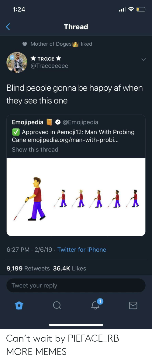 doges: 1:24  Thread  Mother of Doges  liked  Tracceeeee  Blind people gonna be happy af when  they see this one  Emojipedia@Emojipedia  Approved in #emoji12: Man With Probing  Cane emojipedia.org/man-with-probi..  Show this thread  6:27 PM 2/6/19 Twitter for iPhone  9,199 Retweets 36.4K Likes  Tweet your reply Can't wait by PIEFACE_RB MORE MEMES