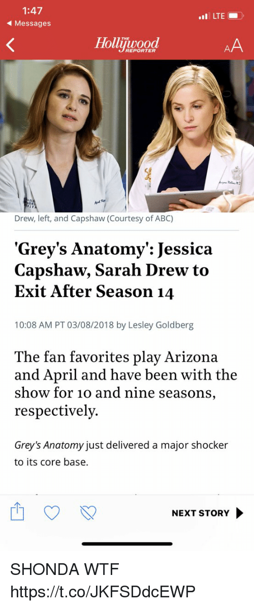Abc, Memes, and Wtf: 1:47  Messages  LTE  THE  Holuwood  REPORTER  Drew, left, and Capshaw (Courtesy of ABC)  Grey's Anatomy': Jessica  Capshaw, Sarah Drew to  Exit After Season 14  10:08 AM PT 03/08/2018 by Lesley Goldberg  The fan favorites play Arizona  and April and have been with the  show for 10 and nine seasons,  respectively.  Grey's Anatomy just delivered a major shocker  to its core base.  NEXT STORY SHONDA WTF https://t.co/JKFSDdcEWP