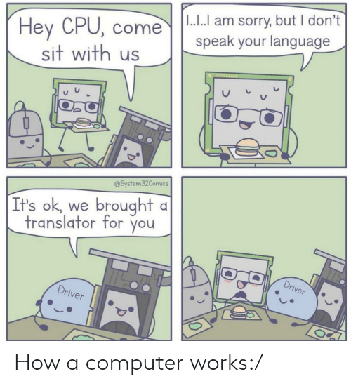 dont speak: |1.... am sorry, but I don't  speak your language  Hey CPU, come  sit with us  @System32Comics  brought  It's ok, we  translator for you  Driver  Driver How a computer works:/