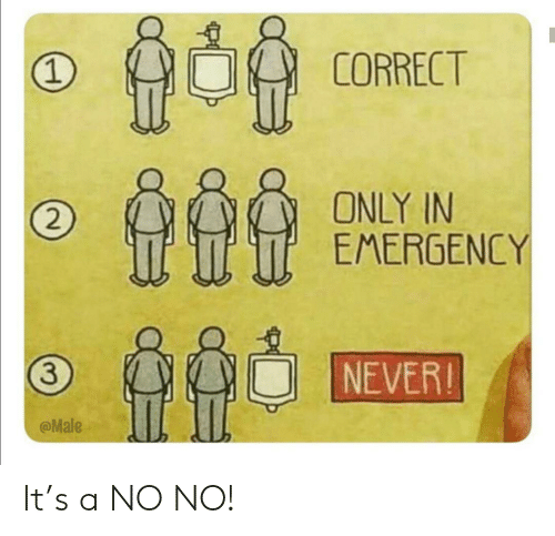 Never, Emergency, and No No: 1  CORRECT  ONLY IN  EMERGENCY  2  NEVER!  3  @Male It's a NO NO!