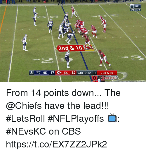 Memes, Nfl, and Cbs: 1  O NFL  AFC CHAMP  2nd & 10  77 NE 17  KC 14 4TH 7:52 17 2ND & 10  2 From 14 points down...  The @Chiefs have the lead!!! #LetsRoll #NFLPlayoffs  📺: #NEvsKC on CBS https://t.co/EX7ZZ2JPk2