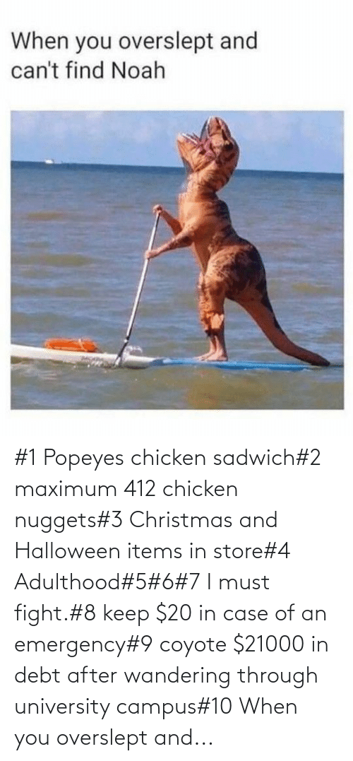 popeyes: #1 Popeyes chicken sadwich#2 maximum 412 chicken nuggets#3 Christmas and Halloween items in store#4 Adulthood#5#6#7 I must fight.#8 keep $20 in case of an emergency#9 coyote $21000 in debt after wandering through university campus#10 When you overslept and...