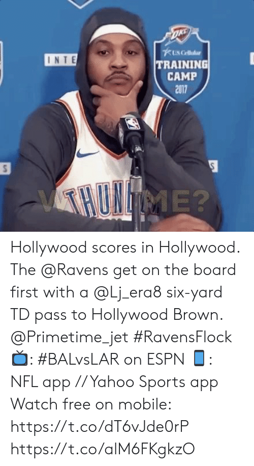 Espn, Memes, and Nfl: 1 RB, 1 TE, 3  WR  35 EDWARDS RB 89 ANDREWS TE 15 BROWN WR  11 ROBERTS WR 83 SNEAD IV WR  ESFRMNF  3rd & 4  1ST 7:51 05  8-2  6-4 Hollywood scores in Hollywood.   The @Ravens get on the board first with a @Lj_era8 six-yard TD pass to Hollywood Brown. @Primetime_jet #RavensFlock  📺: #BALvsLAR on ESPN 📱: NFL app // Yahoo Sports app Watch free on mobile: https://t.co/dT6vJde0rP https://t.co/alM6FKgkzO