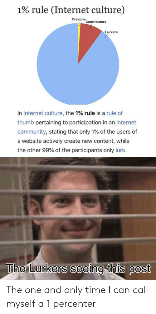 website: 1% rule (Internet culture)  Creators  Contributors  Lurkers  In Internet culture, the 1% rule is a rule of  thumb pertaining to participation in an internet  community, stating that only 1% of the users of  a website actively create new content, while  the other 99% of the participants only lurk.  The Lurkers seeing this post The one and only time I can call myself a 1 percenter