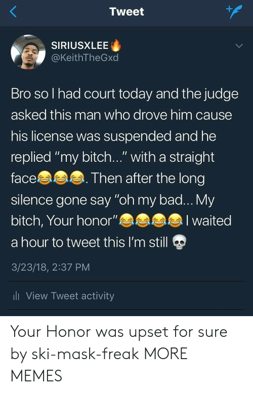 "My Bitch: 1  Tweet  SIRIUSXLEE  @KeithTheGxd  Bro so l had court today and the judge  asked this man who drove him cause  his license was suspended and he  replied ""my bitch..."" with a straight  face  silence gone say ""oh my bad... My  bitch, Your honor""eaa  a hour to tweet this I'm still  3/23/18, 2:37 PM  li View Tweet activity  Then after the long  alI waited Your Honor was upset for sure by ski-mask-freak MORE MEMES"