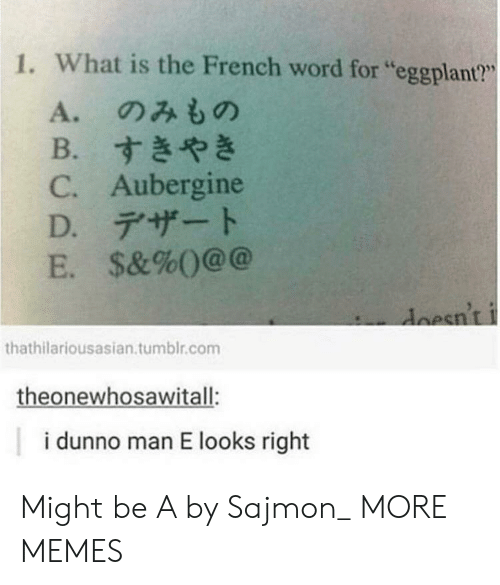"Dank, Memes, and Target: 1. What is the French word for ""eggplant?""  L6  A.のみもの  B.すきやき  C. Aubergine  D.デザート  E. $&%()@@  esnt  thathilariousasian.tumblr.com  theonewhosawitall:  i dunno man E looks right Might be A by Sajmon_ MORE MEMES"