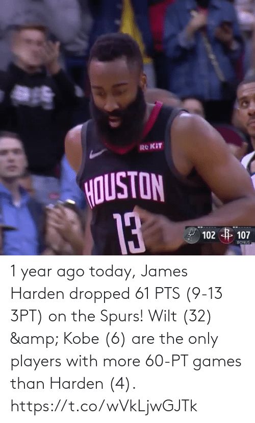 Spurs: 1 year ago today, James Harden dropped 61 PTS (9-13 3PT) on the Spurs!   Wilt (32) & Kobe (6) are the only players with more 60-PT games than Harden (4).   https://t.co/wVkLjwGJTk