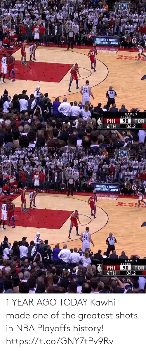 History: 1 YEAR AGO TODAY  Kawhi made one of the greatest shots in NBA Playoffs history!  https://t.co/GNY7tPv9Rv