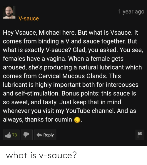 Mucous: 1 year ago  V-sauce  Hey Vsauce, Michael here. But what is Vsauce. It  comes from binding a V and sauce together. But  what is exactly V-sauce? Glad, you asked. You see,  females have a vagina. When a female gets  aroused, she's producing a natural lubricant which  comes from Cervical Mucous Glands. This  lubricant is highly important both for intercouses  and self-stimulation. Bonus points: this sauce is  SO Sweet, and tasty. Just keep that in mind  whenever you visit my YouTube channel. And as  always, thanks for cumin  73  Reply what is v-sauce?