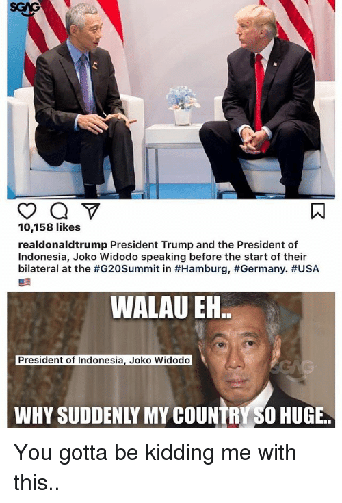 Joko: 10,158 likes  realdonaldtrump President Trump and the President of  Indonesia, Joko Widodo speaking before the start of their  bilateral at the #G20Summit in #Hamburg, #Germany·#USA  WALAU EN  President of Indonesia, Joko Widodo  WHY SUDDENLY MY COUNTRY SO HUGE. You gotta be kidding me with this..