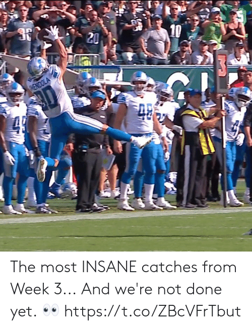 Memes, 🤖, and Done: 10  20  HENDOLA  49 The most INSANE catches from Week 3...  And we're not done yet. ? https://t.co/ZBcVFrTbut