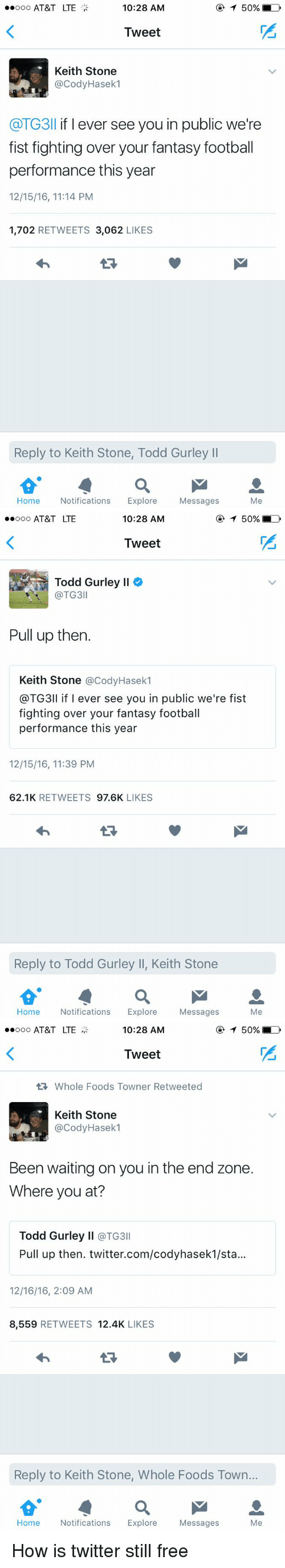 Fantasy football: 10:28 AM  ooo AT&T LTE  T 50% LD  Tweet  Keith Stone  @CodyHasek1  @TG3ll f ever see you in public we're  fist fighting over your fantasy football  performance this year  12/15/16, 11:14 PM  1,702  RETWEETS 3,062  LIKES  Reply to Keith Stone, Todd Gurley ll  Home Notifications  Explore  Messages  Me   10:28 AM  T 50% LD  ooooo AT&T LTE  Tweet  Todd Gurley ll  TG3  Pull up then.  Keith Stone  @Cody Hasek  @TG3ll if I ever see you in public we're fist  fighting over your fantasy football  performance this year  12/15/16, 11:39 PM  62.1K  RETWEETS  97.6K  LIKES  Reply to Todd Gurley ll, Keith Stone  Home Notifications  Explore  Messages  Me   10:28 AM  ooo AT&T LTE  T 50% LD  Tweet  Whole Foods Towner Retweeted  Keith Stone  @Cody Hasek  Been waiting on you in the end zone.  Where you at?  Todd Gurley ll  @TG3  Pull up then. twitter.com/codyhasek1/sta...  12/16/16, 2:09 AM  8,559  RETWEETS 12.4K  LIKES  Reply to Keith Stone, Whole Foods Town...  Home Notifications  Explore  Messages  Me How is twitter still free