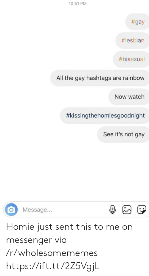 Homie, Lesbian, and Messenger: 10:51 PM  #gay  #lesbian  #bisexual  All the gay hashtags are rainbow  Now watch  #kissingthehomiesgoodnight  See it's not gay  Message... Homie just sent this to me on messenger via /r/wholesomememes https://ift.tt/2Z5VgjL