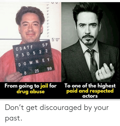 Jail, Drug, and S&p: 10  7  5'0  S P  CSATF  P 5052 2  D O W N E Y  99  25  8  From going to jail for  drug abuse  To one of the highest  paid and respected  actors Don't get discouraged by your past.