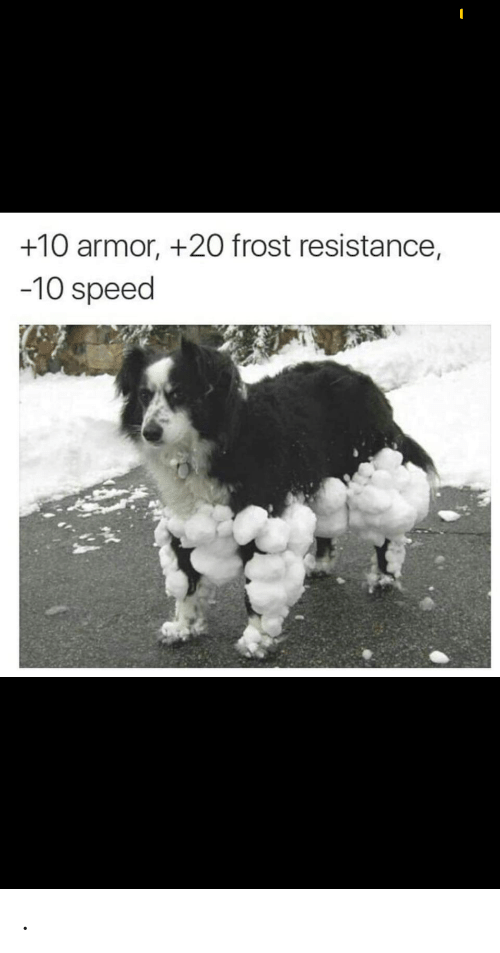 Resistance, Speed, and Armor: +10 armor, +20 frost resistance,  -10 speed .