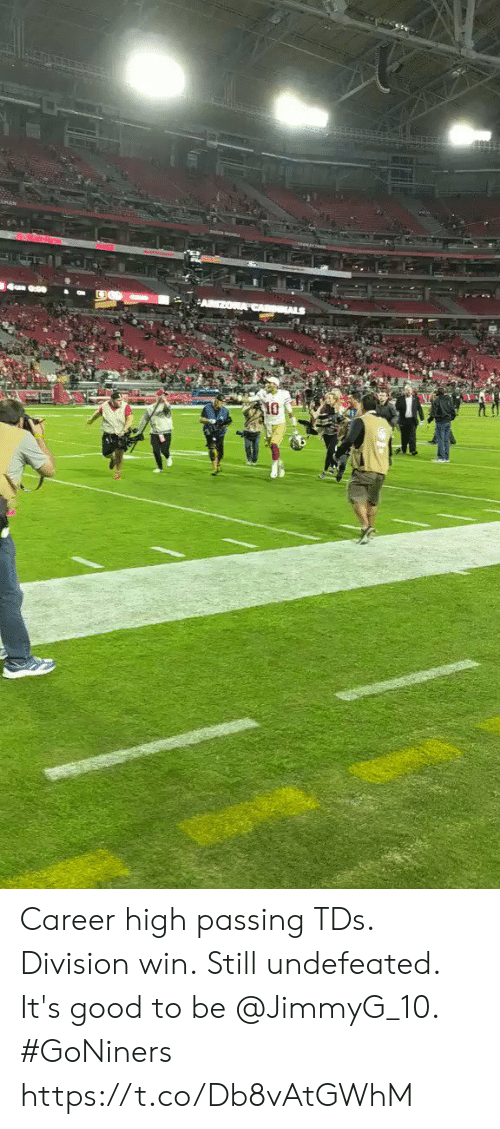 division: 10 Career high passing TDs. Division win. Still undefeated.  It's good to be @JimmyG_10. #GoNiners https://t.co/Db8vAtGWhM