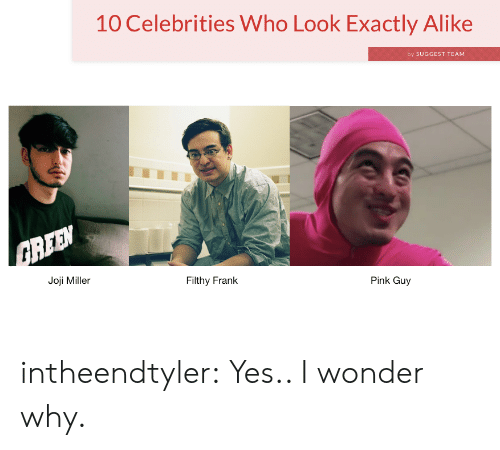 Joji Miller: 10 Celebrities Who Look Exactly Alike  by SUGGEST TEAM  Joji Miller  Filthy Frank  Pink Guy intheendtyler:  Yes.. I wonder why.