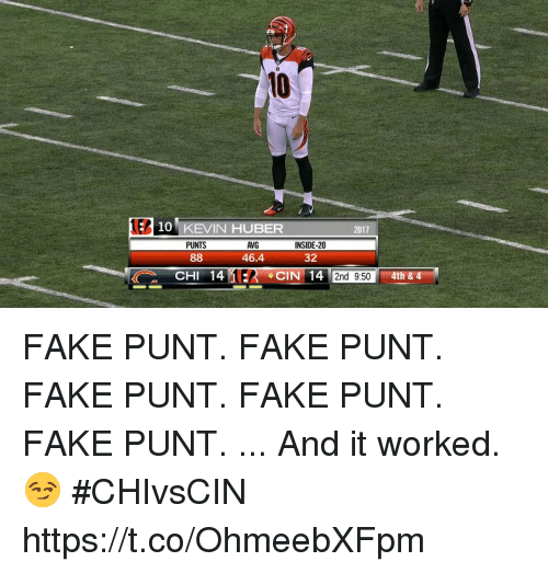 Fake, Memes, and 🤖: 10  EP  10 KEVIN HUBER  2017  PUNTS  AVG  46.4  INSIDE-20  32  2nd 9:50 FAKE PUNT. FAKE PUNT. FAKE PUNT. FAKE PUNT. FAKE PUNT.  ... And it worked. 😏 #CHIvsCIN https://t.co/OhmeebXFpm
