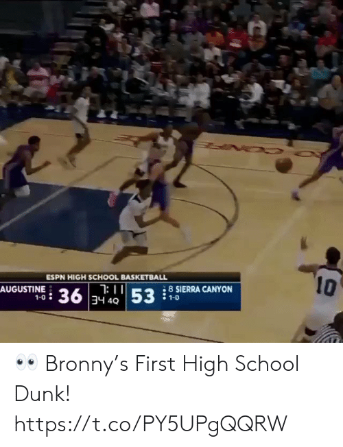 Basketball: 10  ESPN HIGH SCHOOL BASKETBALL  : II  36 34 4053  8 SIERRA CANYON  AUGUSTINE  1-0  1-0 👀 Bronny's First High School Dunk!  https://t.co/PY5UPgQQRW