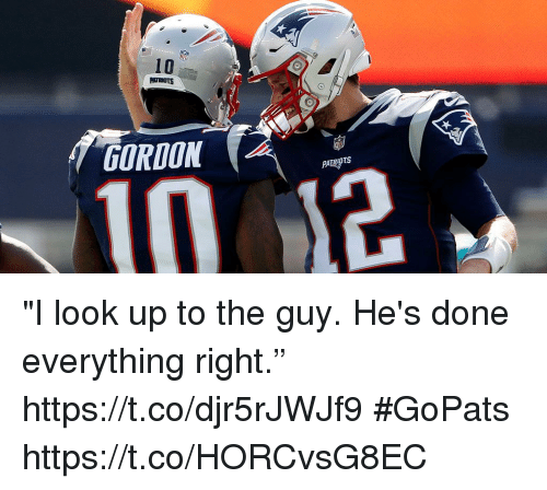 "Look Up To: 10  GORDON ""I look up to the guy. He's done everything right."" https://t.co/djr5rJWJf9 #GoPats https://t.co/HORCvsG8EC"