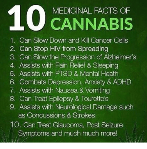 neurology: 100 CANNABIS  MEDICINAL FACTS OF  1. Can Slow Down and Kill Cancer Cells  2. Can Stop HIV from Spreading  3. Can Slow the Progression of Alzheimer's  4. Assists with Pain Relief & Sleeping  5. Assists with PTSD & Mental Heath  6. Combats Depression, Anxiety & ADHD  7. Assists with Nausea & Vomiting  8. Can Treat Epilepsy & Tourette's  9, Assists with Neurological Damage such  as Concussions & Strokes  10. Can Treat Glaucoma, Post Seizure  Symptoms and much much more!