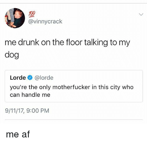 9/11, Af, and Anaconda: 100  @vinnycrack  me drunk on the floor talking to my  dog  Lorde e》 @lorde  you're the only motherfucker in this city who  can handle me  9/11/17, 9:00 PM me af