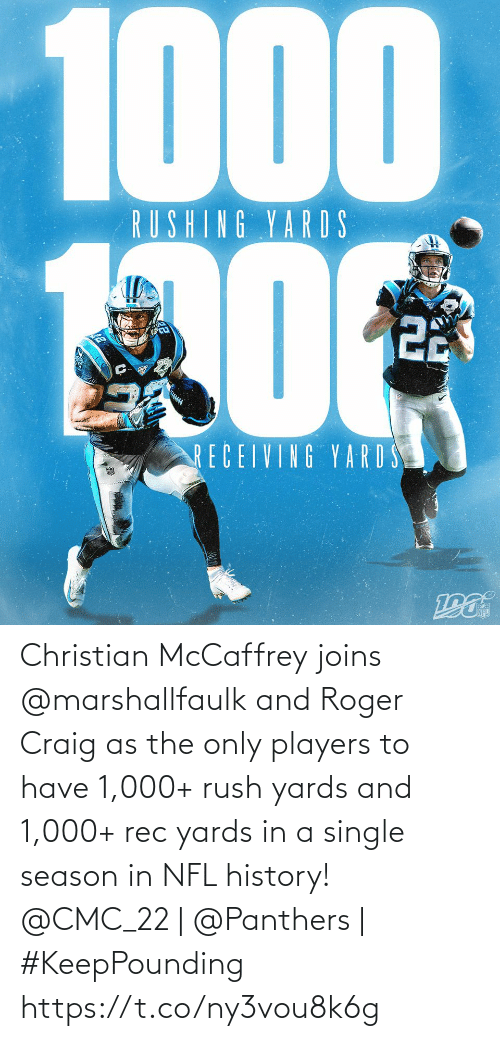Craig: 1000  RUSHING YARDS  22  RECEIVING YARD S Christian McCaffrey joins @marshallfaulk and Roger Craig as the only players to have 1,000+ rush yards and 1,000+ rec yards in a single season in NFL history!  @CMC_22 | @Panthers | #KeepPounding https://t.co/ny3vou8k6g