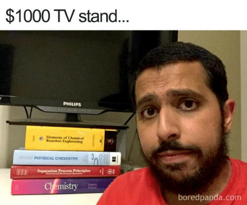 separation: $1000 TV stand.  PHILIPS  Elements of Chemical  Reaction Engineering  PHYSICAL CHEMISTRY 40  Separation Proce Principles  Ch emistry  boredpanda.com