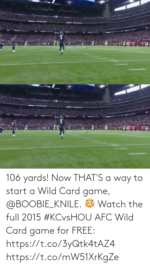 start a: 106 yards! Now THAT'S a way to start a Wild Card game, @BOOBIE_KNILE. 😳  Watch the full 2015 #KCvsHOU AFC Wild Card game for FREE: https://t.co/3yQtk4tAZ4 https://t.co/mW51XrKgZe