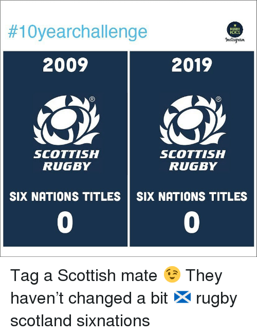 Scottish:  #10yearchallenge  RUGBY  HEMES  Instagran  2009  2019  SCOTTISH  RUGBY  SCOTTISH  RUGBY  SIX NATIONS TITLES SIX NATIONS TITLES  0  0 Tag a Scottish mate 😉 They haven't changed a bit 🏴 rugby scotland sixnations
